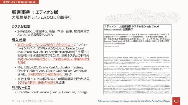 ⼤規模基幹システムをOCIに全⾯移⾏ システム概要 • 24時間365⽇稼働する、店舗、本部、在庫、物流業務な どの12の⼤規模基幹システム 導⼊効果 • 東京・⼤阪リージョンの2拠点で合計200以上のコンピュー ト・インスタンス、2つのExa...