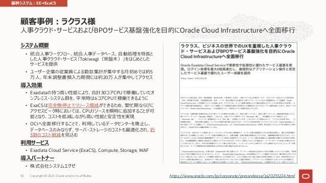 ⼈事クラウド・サービスおよびBPOサービス基盤強化を⽬的にOracle Cloud Infrastructureへ全⾯移⾏ システム概要 • 統合⼈事ワークフロー、統合⼈事データベース、⾃動処理を特⻑と した⼈事クラウド・サービス「Tokiwa...