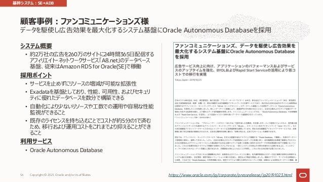 データを駆使し広告効果を最⼤化するシステム基盤にOracle Autonomous Databaseを採⽤ システム概要 • 約2万社の広告を260万のサイトに24時間365⽇配信する アフィリエイト・ネットワークサービス「A8.net」のデー...