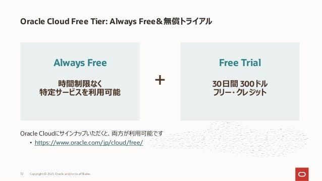 Oracle Cloudにサインナップいただくと、両⽅が利⽤可能です • https://www.oracle.com/jp/cloud/free/ Oracle Cloud Free Tier: Always Free&無償トライアル Cop...