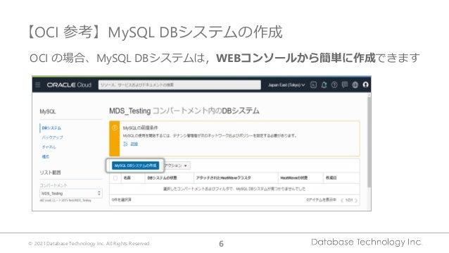 © 2021 Database Technology Inc. All Rights Reserved. 6 【OCI 参考】MySQL DBシステムの作成 OCI の場合、MySQL DBシステムは,WEBコンソールから簡単に作成できます