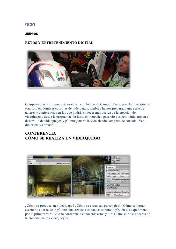 OCIO<br />JUEGOS <br />RETOS Y ENTRETENIMIENTO DIGITAL<br />Competencias y torneos, este es el espacio lúdico de Campus Pa...