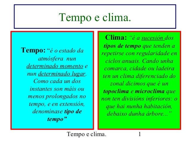 """Tempo e clima. 1 Tempo e clima. Tempo: """"é o estado da atmósfera nun determinado momento e nun determinado lugar. Como cada..."""