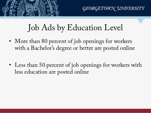 Job Ads by Education Level • More than 80 percent of job openings for workers with a Bachelor's degree or better are post...