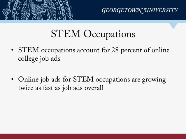STEM Occupations • STEM occupations account for 28 percent of online college job ads • Online job ads for STEM occupatio...