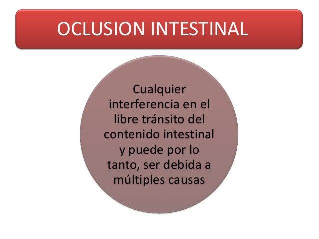OCLUSION INTESTINAL           Cualquier     interferencia en el      libre tránsito del    contenido intestinal        y p...