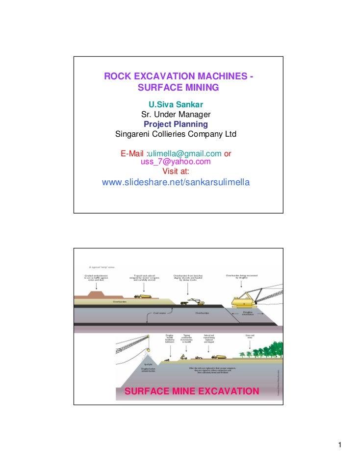 ROCK EXCAVATION MACHINES -      SURFACE MINING            U.Siva Sankar          Sr. Under Manager          Project Planni...