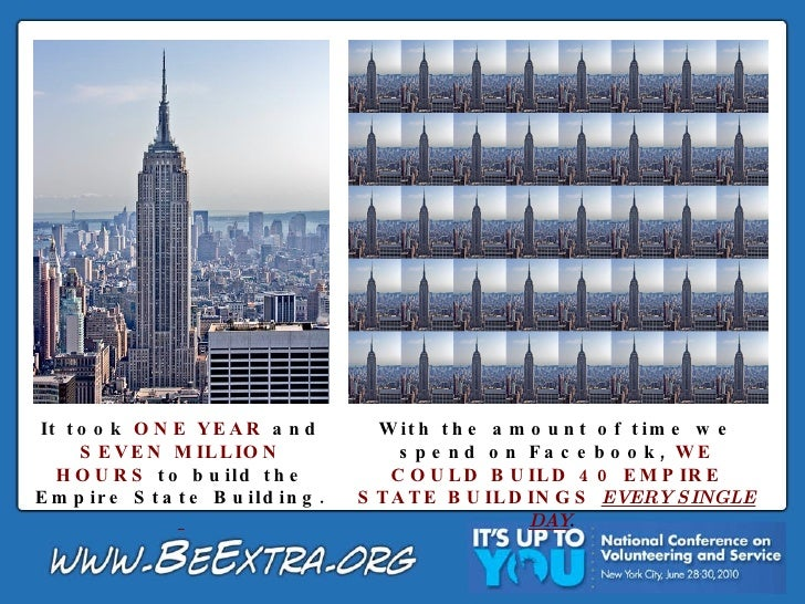 It took  ONE YEAR  and  SEVEN MILLION HOURS  to build the Empire State Building.   With the amount of time we spend on Fac...