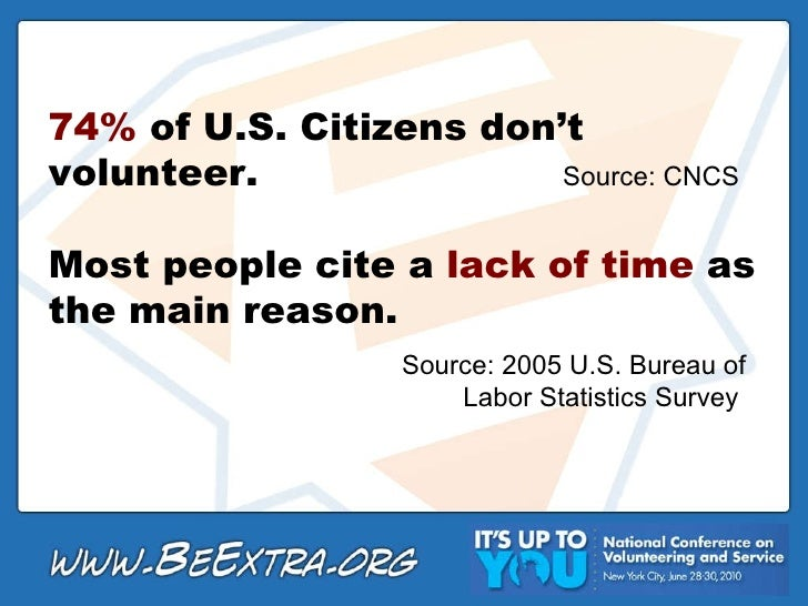 74%  of U.S. Citizens don't volunteer. Most people cite a  lack of time  as the main reason.  Source: 2005 U.S. Bureau of ...