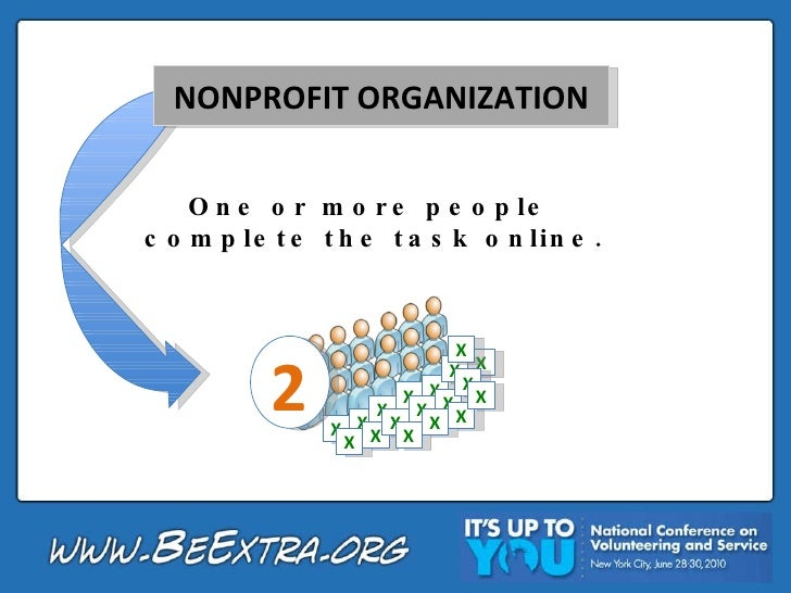 NONPROFIT ORGANIZATION One or more people  complete the task online. 2 X X X X X X X X X X X X X X X X X X