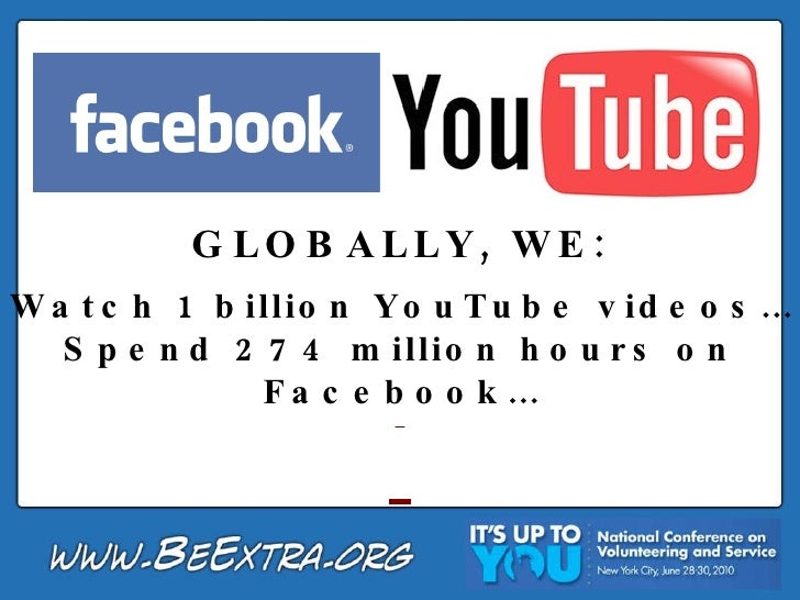 GLOBALLY, WE: Watch 1 billion YouTube videos… Spend 274 million hours on Facebook…