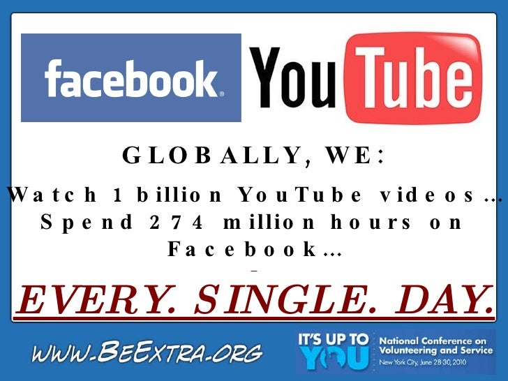 GLOBALLY, WE: Watch 1 billion YouTube videos… Spend 274 million hours on Facebook… EVERY. SINGLE. DAY.