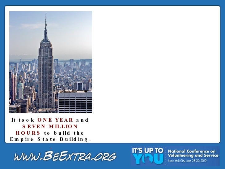 It took  ONE YEAR  and  SEVEN MILLION HOURS  to build the Empire State Building.