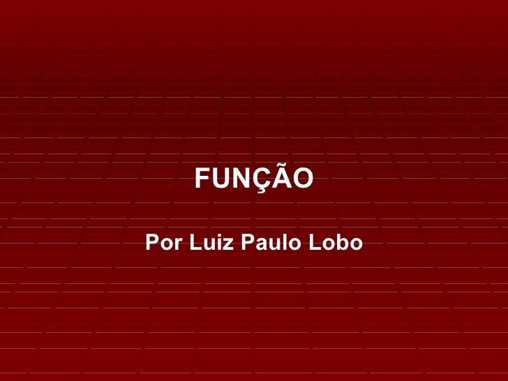 FUNÇÃO Por Luiz Paulo Lobo