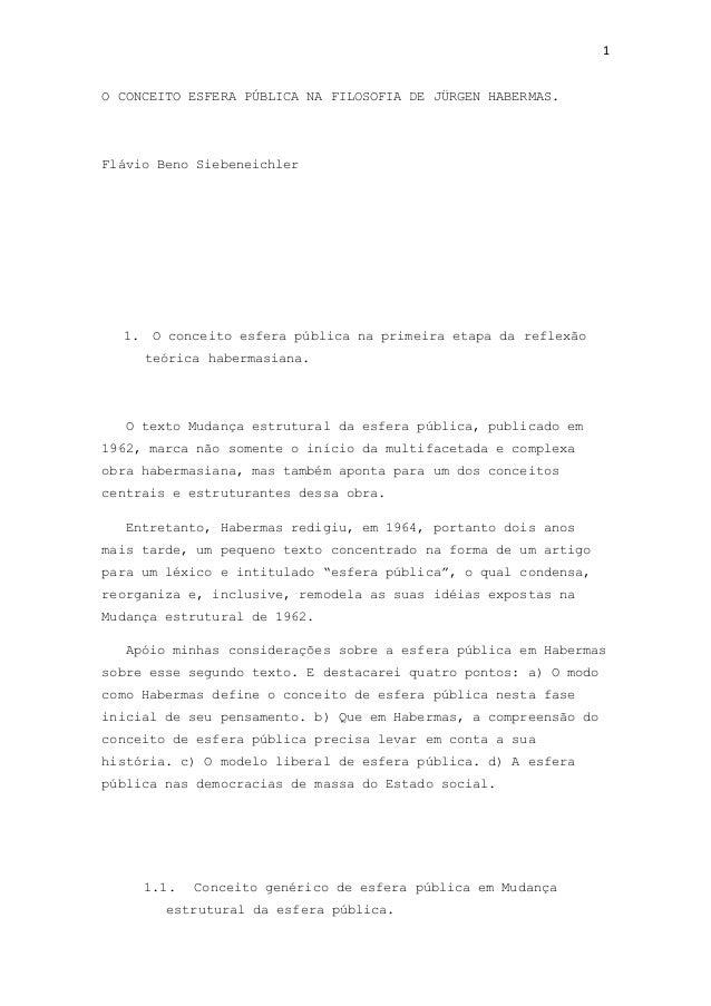 1 O CONCEITO ESFERA PÚBLICA NA FILOSOFIA DE JÜRGEN HABERMAS. Flávio Beno Siebeneichler 1. O conceito esfera pública na pri...
