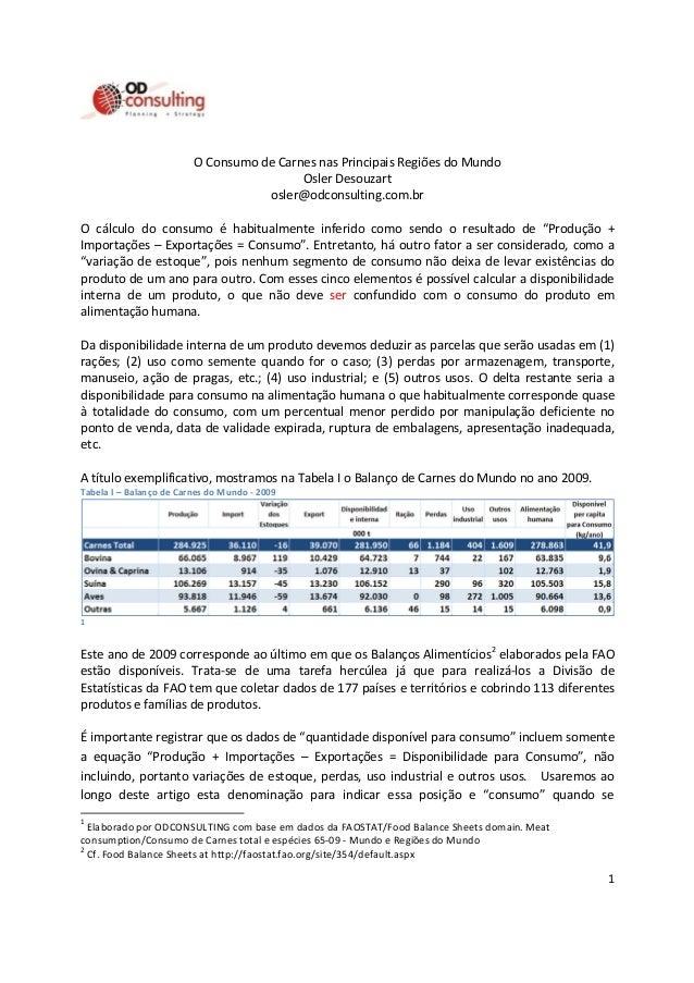 1 O Consumo de Carnes nas Principais Regiões do Mundo Osler Desouzart osler@odconsulting.com.br O cálculo do consumo é hab...