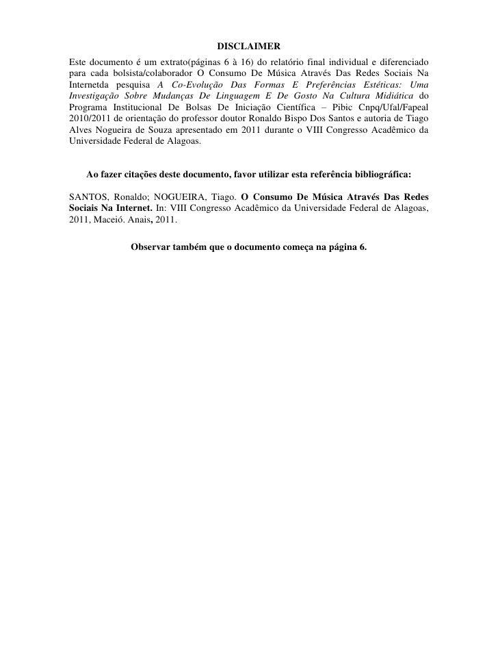 DISCLAIMEREste documento é um extrato(páginas 6 à 16) do relatório final individual e diferenciadopara cada bolsista/colab...