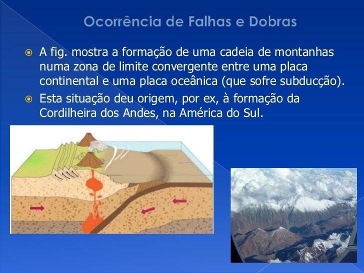 Ocorrência de Falhas e Dobras<br />A fig. mostra a formação de uma cadeia de montanhas numa zona de limite convergente ent...