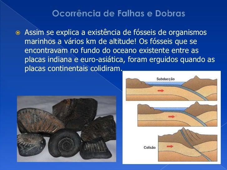 Ocorrência de Falhas e Dobras<br />Assim se explica a existência de fósseis de organismos marinhos a vários km de altitude...