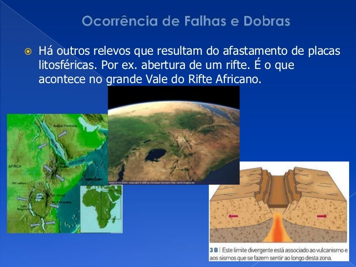 Ocorrência de Falhas e Dobras<br />Há outros relevos que resultam do afastamento de placas litosféricas. Por ex. abertura ...