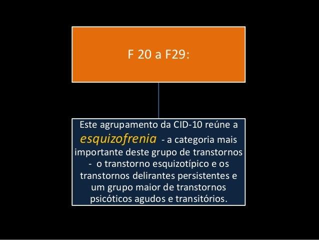 F 20 a F29:  Este agrupamento da CID-10 reúne a esquizofrenia - a categoria mais importante deste grupo de transtornos - o...