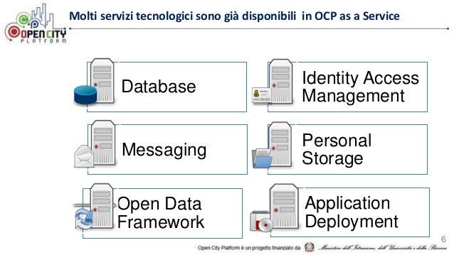 Molti servizi tecnologici sono già disponibili in OCP as a Service 6 Database Identity Access Management Messaging Persona...