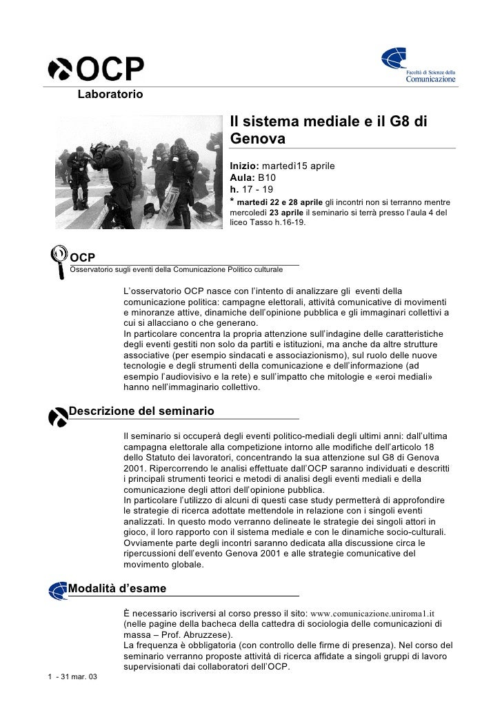 Laboratorio                                                        Il sistema mediale e il G8 di                          ...