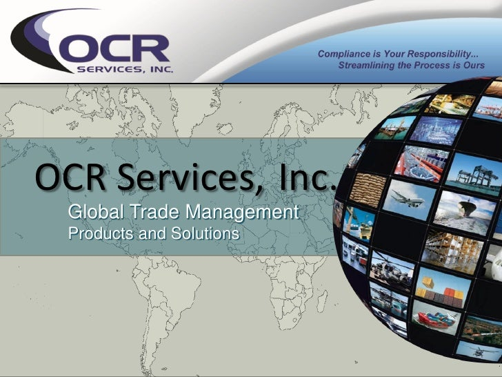OCR Services, Inc. Global Trade Management Products and Solutions