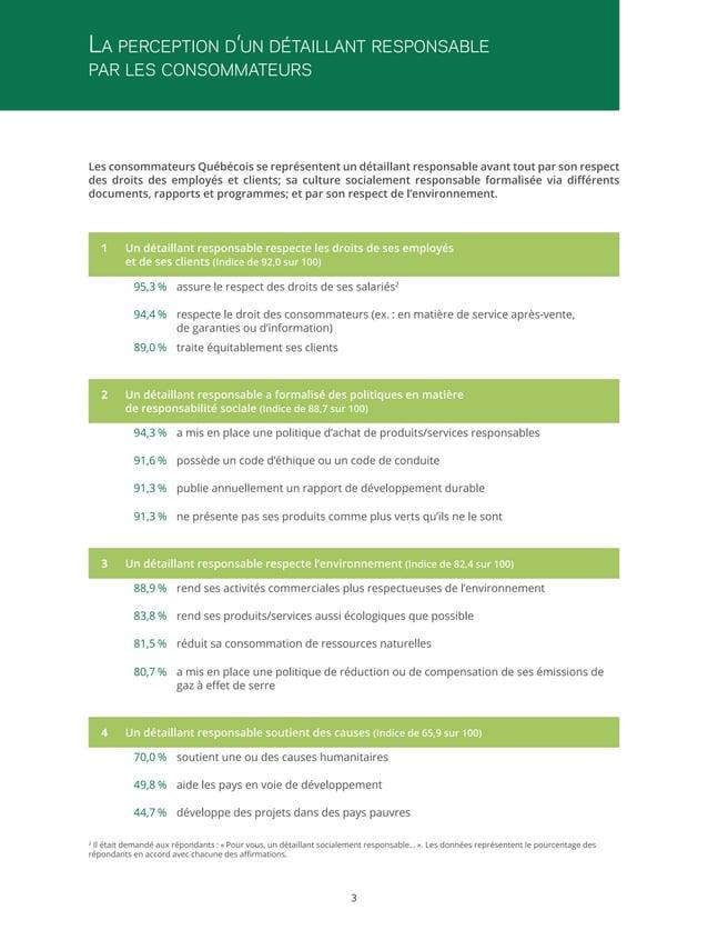 La perception d'un détaillant responsable par les consommateurs  Les consommateurs Québécois se représentent un détaillant...