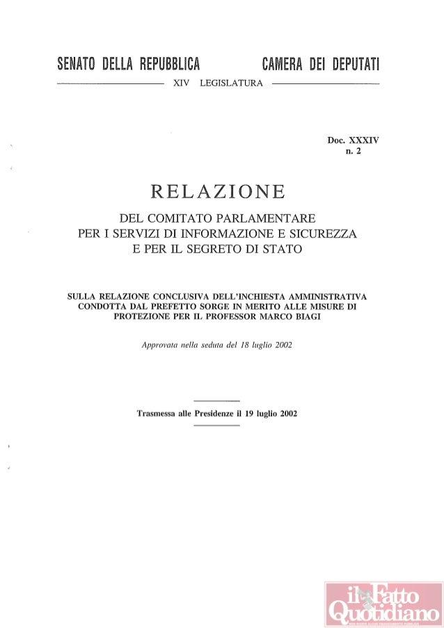 SENATO DEllA REPUBBLICA CAMERA DEl DEPUTATI XIV LEGISLATURA Doc. XXXIV n. 2 RELAZIONE DEL COMITATO PARLAMENTARE PER I SERV...