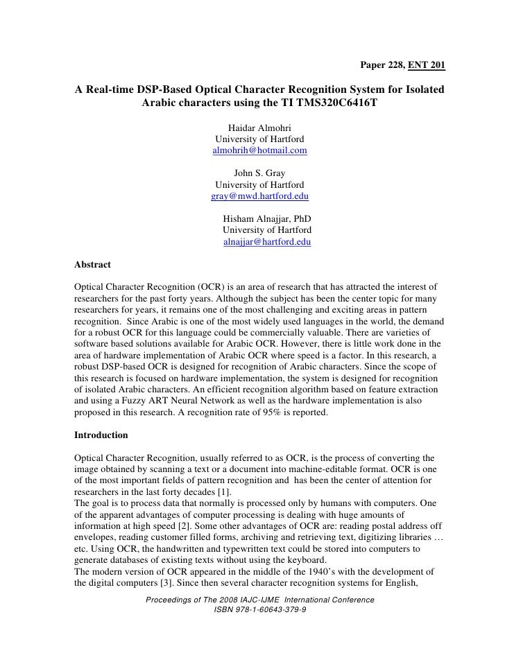 Paper 228, ENT 201A Real-time DSP-Based Optical Character Recognition System for Isolated             Arabic characters us...