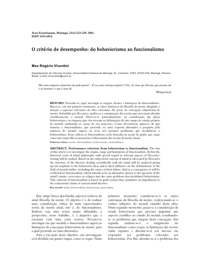 Acta Scientiarum, Maringá, 23(1):223-230, 2001.ISSN 1415-6814.O critério de desempenho: do behaviorismo ao funcionalismoMa...