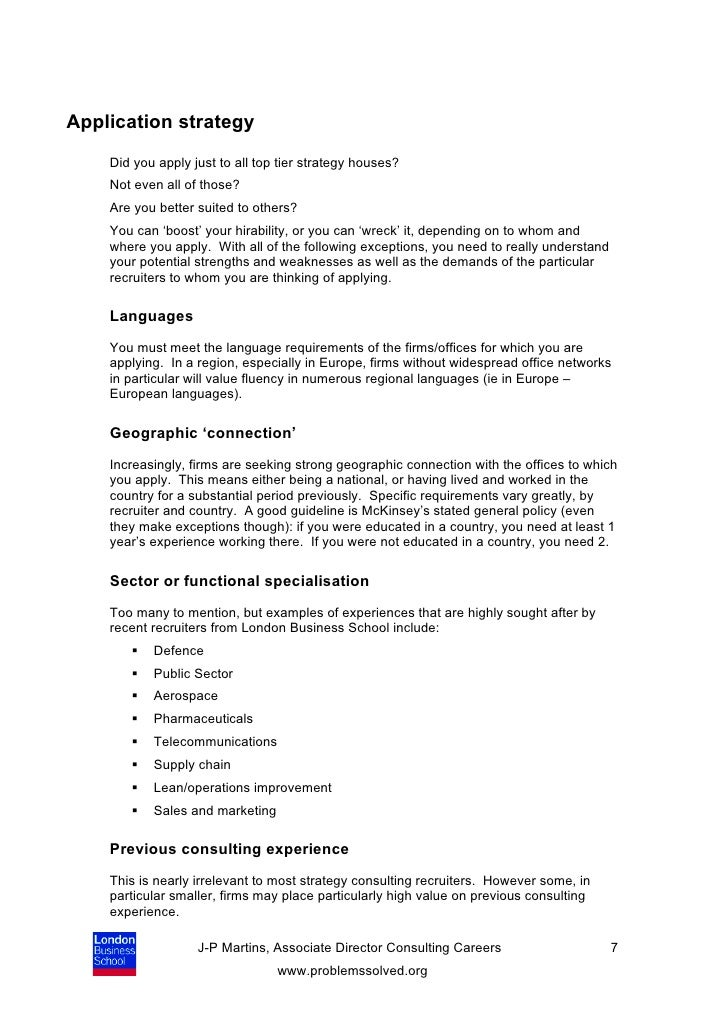 Self Assessment Tool For Consulting Job Applications