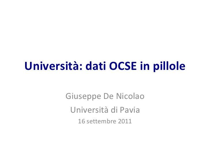 Università: dati OCSE in pillole Giuseppe De Nicolao Università di Pavia 16 settembre 2011