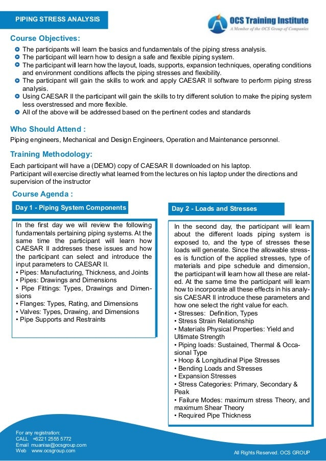 Ocs training - piping stress analysis using caesar ii software
