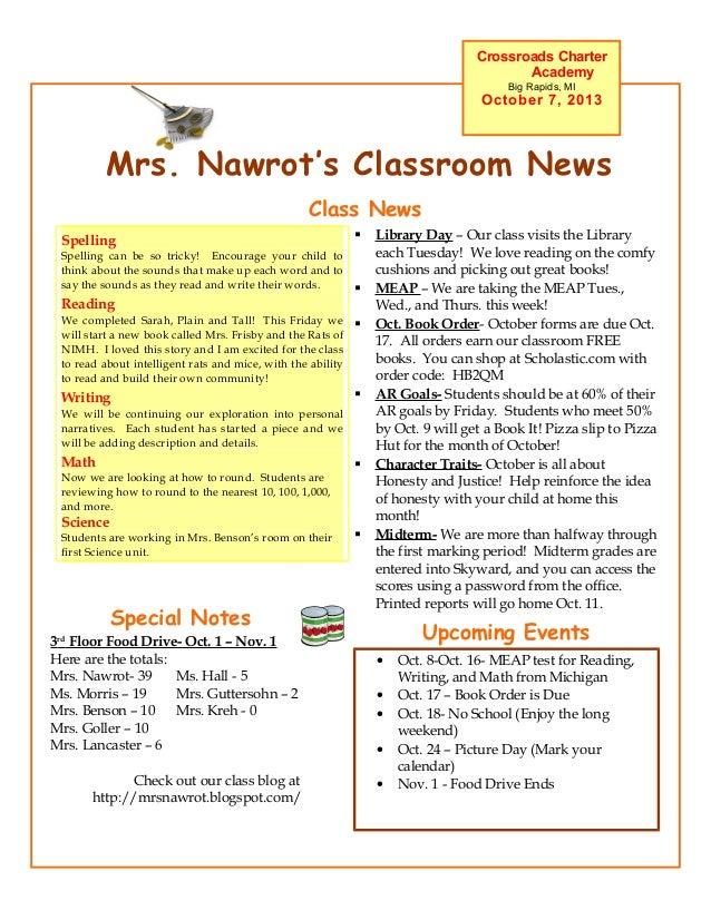 Mrs. Nawrot's Classroom News Crossroads Charter Academy Big Rapids, MI October 7, 2013 Upcoming Events • Oct. 8-Oct. 16- M...