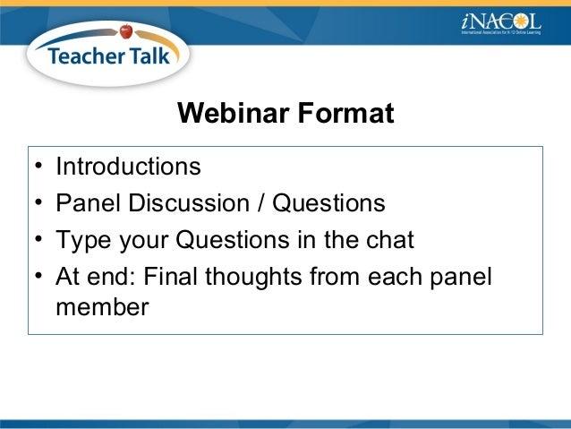 iNACOL Teacher Talk Webinar: Blended Teaching Pedagogy and Personalizing Learning Slide 2