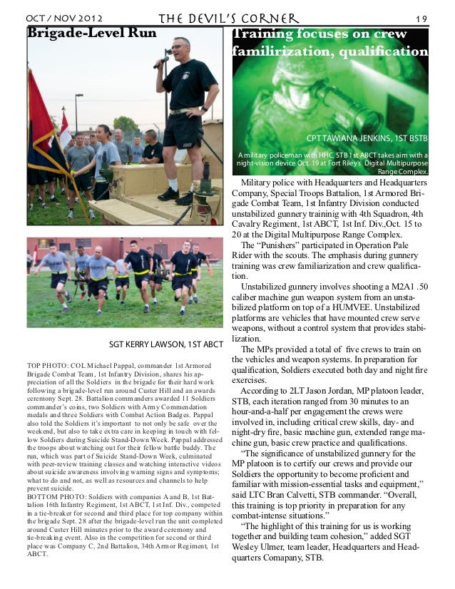 OCT / NOV 2012    the Devil's Corner                    19Brigade-Level Run           Training focuses on crew            ...