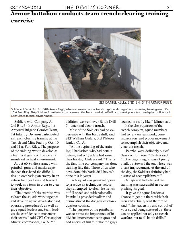 OCT / NOV 2012    the Devil's Corner                  21Armor battalion conducts team trench-clearing trainingexercise    ...