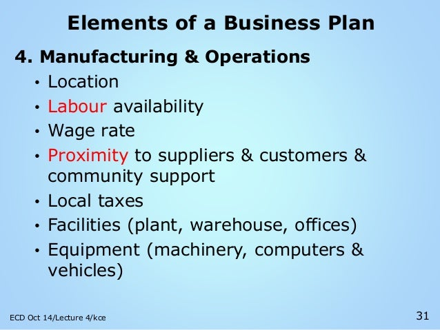 4 elements of a business plan