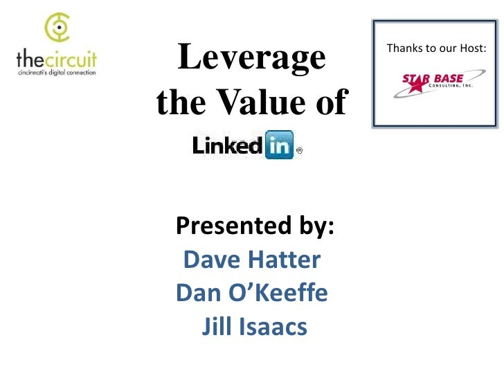 Leverage the Value of LinkedIn Dave Hatter / Dan O'Keeffe Libertas Technologies / O'Keeffe Communications [email_address] ...