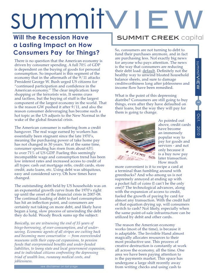 summitV I E WWill the Recession Have                                        summit creek capitala Lasting Impact on How   ...