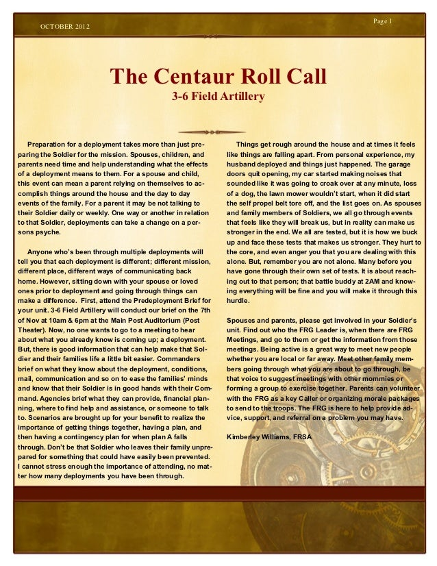 Page 1       OCTOBER 2012                              The Centaur Roll Call                                              ...