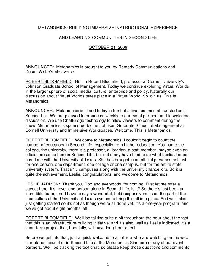 METANOMICS: BUILDING IMMERSIVE INSTRUCTIONAL EXPERIENCE                      AND LEARNING COMMUNITIES IN SECOND LIFE      ...