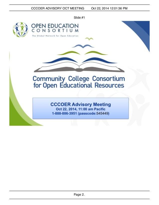 CCCOER ADVISORY OCT MEETING Oct 22, 2014 12:01:36 PM  Slide #1  Page 2.