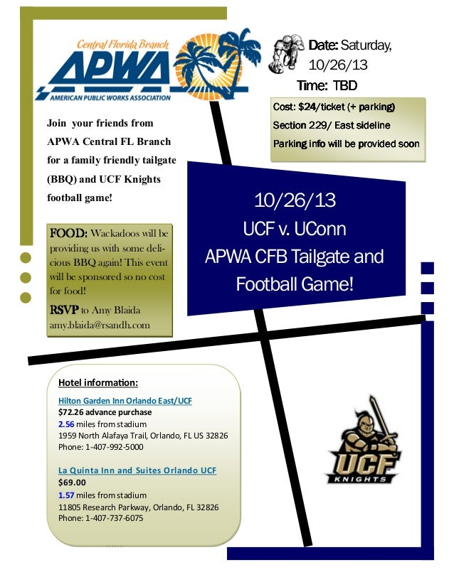 10/26/13 UCFv.UConn APWACFBTailgateand FootballGame! Join your friends from APWA Central FL Branch for a family friendly t...