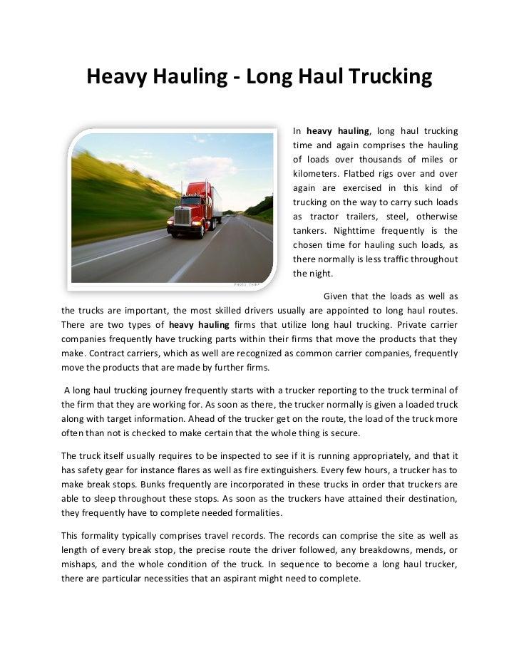 Heavy Hauling - Long Haul Trucking