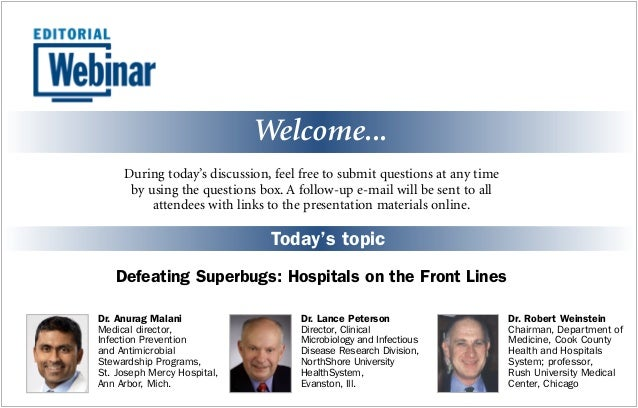 Webinar Defeating Superbugs Hospitals On The Front Lines