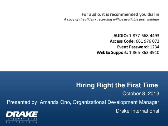 Hiring Right the First Time October 8, 2013 Presented by: Amanda Ono, Organizational Development Manager Drake Internation...