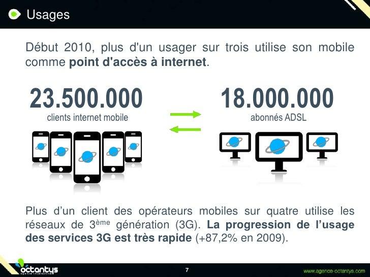 Usages<br />Début 2010, plus d'un usager sur trois utilise son mobile comme point d'accès à internet.<br />7<br />23.500....